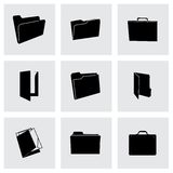 Vector black folder icons set Royalty Free Stock Photos