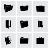 Vector black folder icons set. On black background Royalty Free Stock Photos