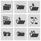 Vector black folder icons set. This is file of EPS10 format Stock Images