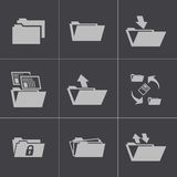 Vector black folder icons set Royalty Free Stock Images
