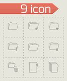 Vector black folder icons set Stock Images