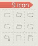 Vector black folder icons set. On grey background Stock Images