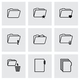 Vector black folder icons set Stock Image
