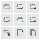 Vector black folder icons set. On grey background Stock Image