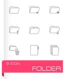 Vector black folder icons set Royalty Free Stock Image