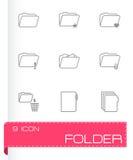 Vector black folder icons set. On white background Royalty Free Stock Image