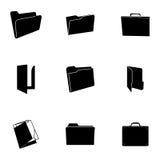 Vector black folder icons set. On white background Royalty Free Stock Photo