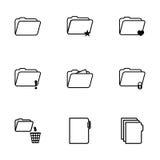 Vector black folder icons set. On white background Royalty Free Stock Photos