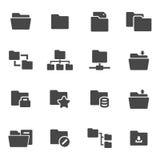 Vector black folder icons set. On white background Stock Photos