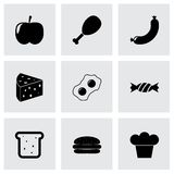 Vector black food icon set. On grey background Royalty Free Stock Photo