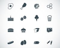 Vector black food icons Royalty Free Stock Images
