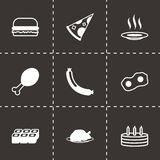 Vector black food icons set. On black background Royalty Free Stock Photo