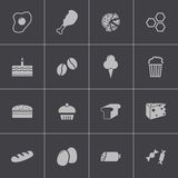 Vector black food icons set Stock Photography
