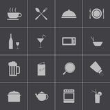 Vector black food icons set Stock Photos