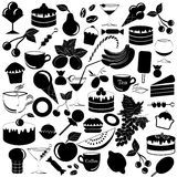 Vector black food icons set Royalty Free Stock Photo