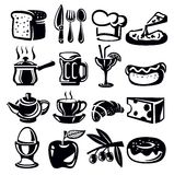 Food icons. Vector black food icons set on whiye Royalty Free Stock Images