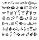 Vector black food icons on white. Black food icons on white background, vector illustration Royalty Free Stock Photo