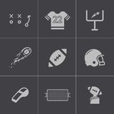 Vector black football icons set Stock Photography