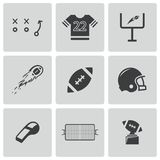 Vector black football icons set Royalty Free Stock Photos