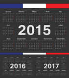Vector black french rcircle calendars 2015, 2016, 2017. Vector black french circle calendars 2015, 2016, 2017. Week starts from Monday Stock Images