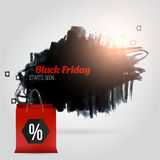 Vector black friday banner with grunge stain, particles and shopping bag Royalty Free Stock Image