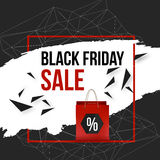 Vector black friday frame with particles and shopping bag Royalty Free Stock Image