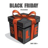Black gift box with red ribbon and bow and Black Friday Sale text. Vector black friday illustration. Royalty Free Stock Images