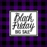 Lettering inscription card Vector Black Friday. Big Sale Design Hand drawn white illustration on checkered purple dark background. Vector Black Friday Lettering vector illustration
