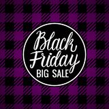 Lettering inscription card Vector Black Friday. Big Sale Design Hand drawn white illustration on checkered purple dark background. Vector Black Friday Lettering royalty free illustration