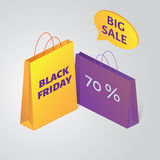 Vector Black friday packages and  speech bubble. Vector isometric Black friday colorful packages and  speech bubble Stock Photography