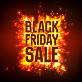 Vector Black Friday Sale background with shining blast of fireworks. Vector illustration on red background. Stock Photos