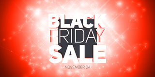 Vector Black Friday Sale background with shining blast of fireworks. Vector illustration on red background. Stock Photography