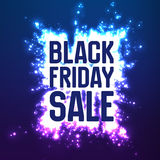 Vector Black Friday Sale background with shining blast of fireworks. Vector illustration on violet background. Stock Photo
