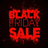 Vector Black Friday Sale background with shining blast of red sparkles. Vector illustration on dark background. Stock Image