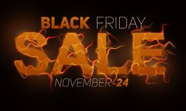 Vector Black Friday Sale text with orange fire flames background. Wavy threads from golden letters. Hot Black friday. Sale illustration for flyers, cards, promo Stock Images