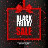 Black Friday Sale text with red frame and bow on dark holiday background Royalty Free Stock Photo