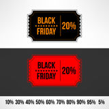 Vector black friday sale ticket. Retail discount Stock Images