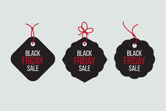 Vector black friday sales tag and banners  set. Royalty Free Stock Images