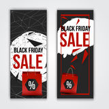 Vector black friday set of banners with particles and shopping bag. Royalty Free Stock Photography