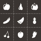 Vector black fruit and vegetables icons set. On black background Royalty Free Stock Image