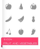 Vector black fruit and vegetables icons set Stock Photos