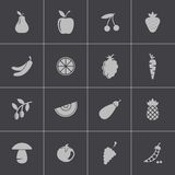Vector black fruits and vegetables icons set Royalty Free Stock Photography
