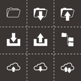 Vector black ftp icons set Stock Photo