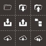 Vector black ftp icons set. On black background Stock Photo