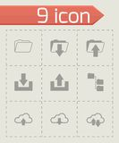 Vector black ftp icons set. On grey background Stock Images