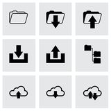 Vector black ftp icons set. On grey background Royalty Free Stock Photos