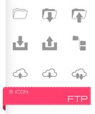 Vector black ftp icons set. On white background Stock Photography