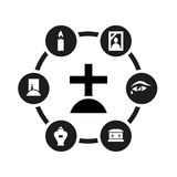 Vector black funeral icon set Royalty Free Stock Images