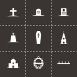 Vector black funeral icons set. On black background Royalty Free Stock Photos
