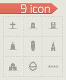 Vector black funeral icons set Stock Photography
